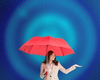 Attractive businesswoman holding umbrella Royalty Free Stock Photo