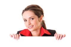Attractive businesswoman holds white board Stock Images