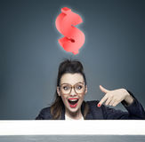Attractive businesswoman with an idea for a new business Stock Image