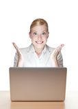 Attractive businesswoman with laptop Royalty Free Stock Photography
