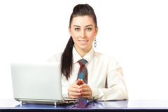Attractive businesswoman with laptop Royalty Free Stock Images