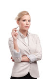 Attractive businesswoman in a light beige suit Royalty Free Stock Photo