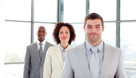 Attractive businesswoman in a line Stock Image