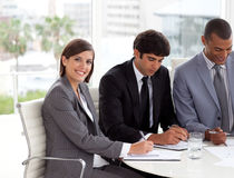 Attractive Businesswoman in a meeting stock photo