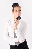 Attractive businesswoman with mobile phone Stock Photos