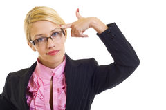 Attractive businesswoman in panic Stock Image