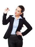 Attractive businesswoman with a pencil Stock Photos