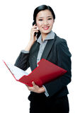 An attractive businesswoman with phone Royalty Free Stock Photos