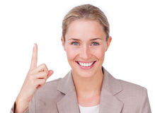 Attractive businesswoman pointing Royalty Free Stock Photography