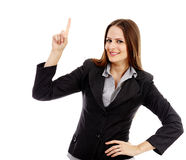 Attractive businesswoman pointing something Stock Images