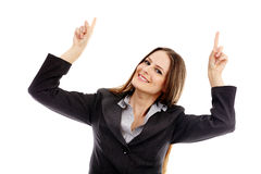 Attractive businesswoman pointing something Stock Photo