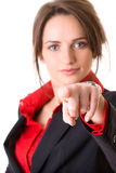 Attractive businesswoman points to camera Stock Photo