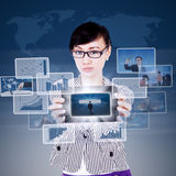 Attractive businesswoman present success on touchpad Royalty Free Stock Photography