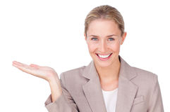 Attractive businesswoman presenting Stock Images