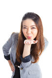 Attractive Businesswoman Presenting Something On The Palm Of Her Stock Photo