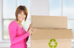 Attractive businesswoman with recyclable box Stock Image