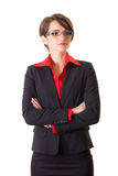 Attractive businesswoman in red shirt and jacket Stock Image