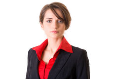 Attractive businesswoman in red shirt and jacket Royalty Free Stock Photos