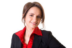 Attractive businesswoman in red shirt and jacket Stock Photography