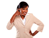 Attractive businesswoman saying call me Stock Photography