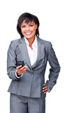 Attractive businesswoman sending a text Stock Images