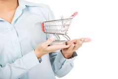 Attractive businesswoman with shopping cart. Royalty Free Stock Photos