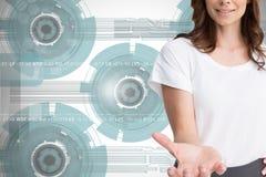 Attractive businesswoman showing her empty hand open Stock Image