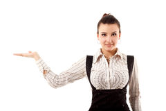Attractive businesswoman showing something with her hand Stock Photos