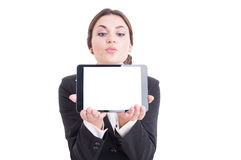 Attractive businesswoman showing tablet with blank display isola Stock Photography