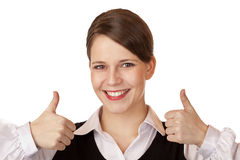 Attractive businesswoman shows both thumbs up Royalty Free Stock Photography