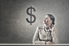 Attractive businesswoman sitting at table Royalty Free Stock Photo