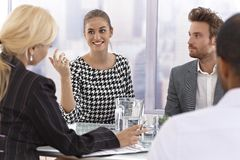 Attractive businesswoman talking at a meeting Royalty Free Stock Photography