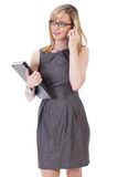 Attractive businesswoman talks over mobile phone Royalty Free Stock Images