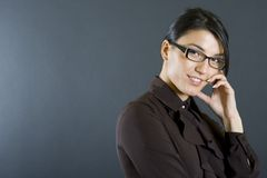Attractive businesswoman thinking stock photography