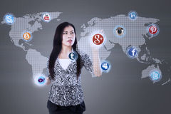 Attractive businesswoman touch internet application Stock Photography