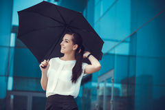 Attractive Businesswoman is walking in city Royalty Free Stock Photo