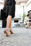 Businesswoman legs walking. Stock Photo