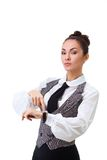 Attractive businesswoman with watch Royalty Free Stock Image