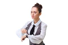 Attractive businesswoman with watch Royalty Free Stock Images