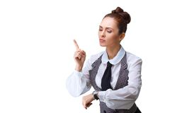 Attractive businesswoman with watch Stock Photo