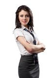 Attractive businesswoman on white Stock Photos