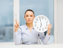 Attractive businesswoman with white clock Stock Image