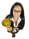 Attractive businesswoman winning a cold cup. Wide angle picture of an attractive businesswoman winning a cold cup Stock Photography
