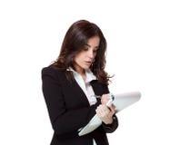 Attractive businesswoman. Wriring, notetaking, preparation Stock Photography