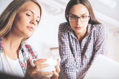 Attractive businesswomen using laptop together Stock Image