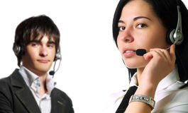 Attractive call center operators Royalty Free Stock Images