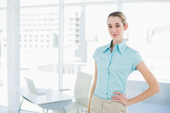 Attractive calm businesswoman posing in her office with hand on hip Royalty Free Stock Photo