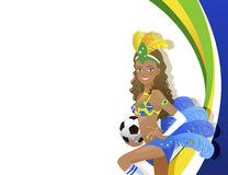 Attractive Carnival dancer holding soccer ball Royalty Free Stock Photography