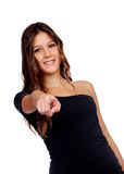 Attractive casual girl in black indicating at camera Stock Photos