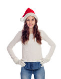 Attractive casual girl with Christmas hat Stock Photography